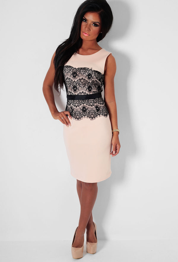 Black And Nude Bodycon Dress