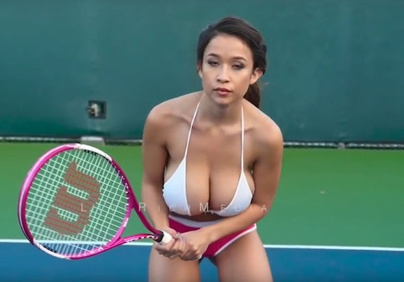 Naked Asian Playing Tennis Movie