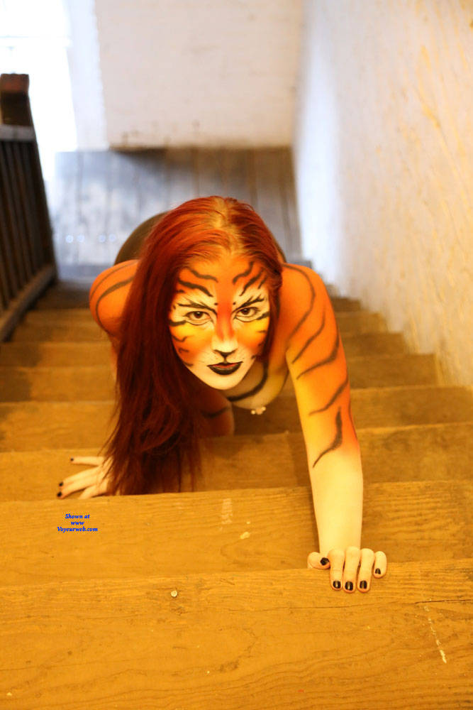 Nude Girl With Tiger